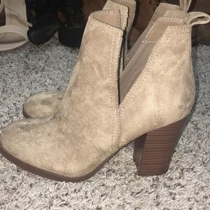 Closed toed Tan heeled booties size 7